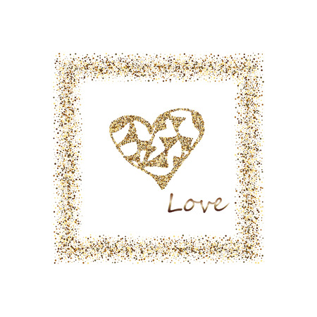 Happy Valentine s Day, with golden glitter effect in gold frame, isolated on white background. Vector illustration. Can be used for Valentine s Day design. Illusztráció