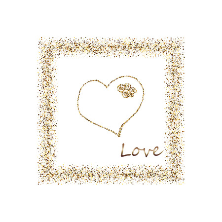 Happy Valentine's Day, with golden glitter effect in gold frame, isolated on white background. Can be used for Valentine s Day design.