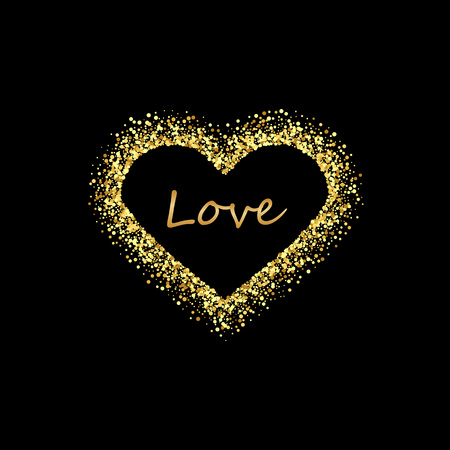 Golden heart frame with empty space for your text. Gold Valentines day frame made of uneven spots or dots of various size. Blobs or splash textured glittering abstract background. Çizim