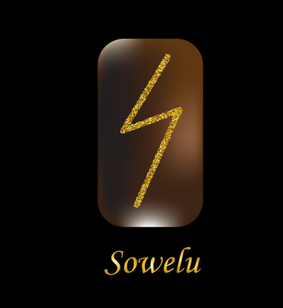 Vector illustration of sowelu characters, rune gold dust on a wooden form on a black background. Illustration