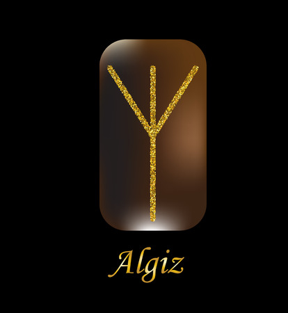 Vector illustration of algiz characters, rune gold dust on a wooden form on a black background.