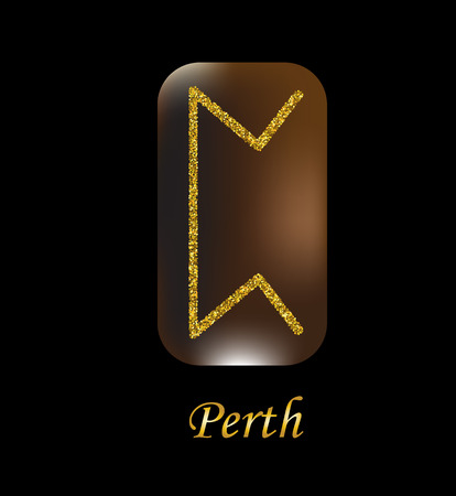 Vector illustration of perth characters, rune gold dust on a wooden form on a black background. Illustration