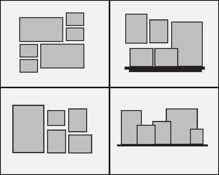 lege fotolijst ingesteld op de muur. ontwerp voor moderne interieur vectorillustratie