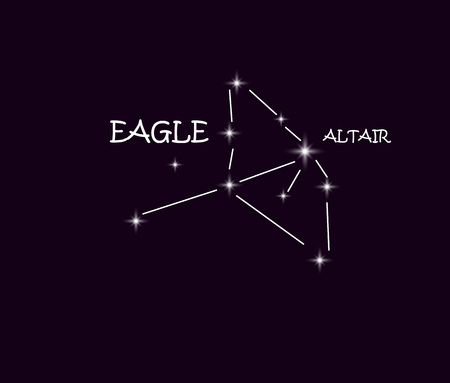 Aquila eagle constellation in the night starry sky.