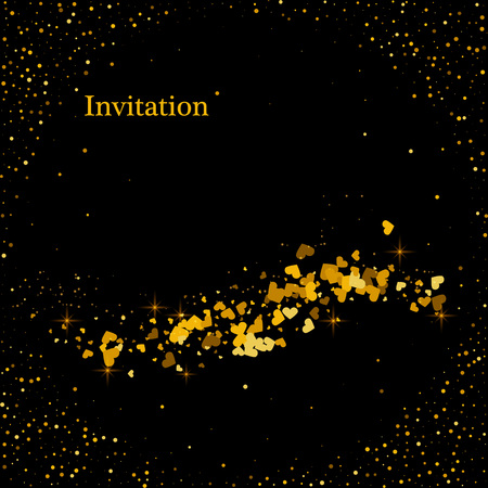 Abstract vector shiny color gold wave design element with glitter effect on dark background.  イラスト・ベクター素材