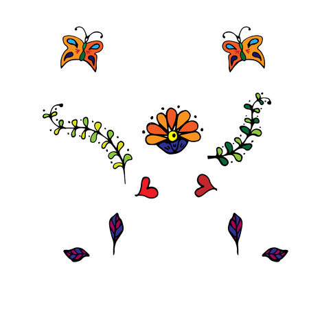 Floral colorful pattern. Elegant flowers, leaves, beetles on white background.