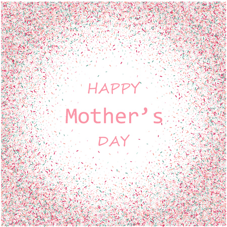 Mother s Day vector card. Blue and pink paint brush strokes background, gold glitter confetti shining. Moms holiday trendy greeting card with pink gold blue. Illustration