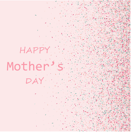 Mother s Day vector card. Blue and pink paint brush strokes background, gold glitter confetti shining. Moms holiday trendy greeting card with pink gold blue, calligraphic Happy Mother s Day text. Illustration