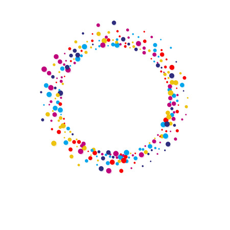 Vector colorful round confetti frame isolated on white background Illustration