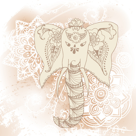 Greeting Beautiful card with Elephant. Frame of animal made in vector Elephant Illustration for design pattern textiles Illustration