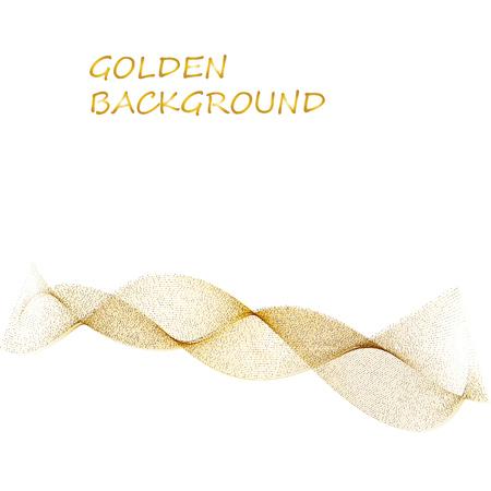 bande jaune abstraite ligne beige vague dorée sur fond blanc.