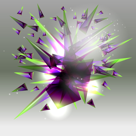 Abstract background. An explosion of colored triangles. Vetores