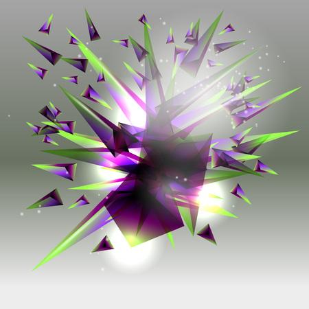 Abstrakter Hintergrund. Eine Explosion farbiger Dreiecke. Vektorgrafik
