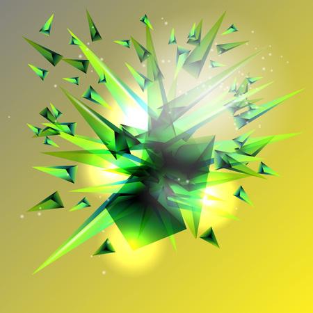 Sfondo astratto. Un'esplosione di triangoli colorati.