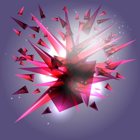 Fondo abstracto. Una explosión de triángulos de colores. Ilustración de vector