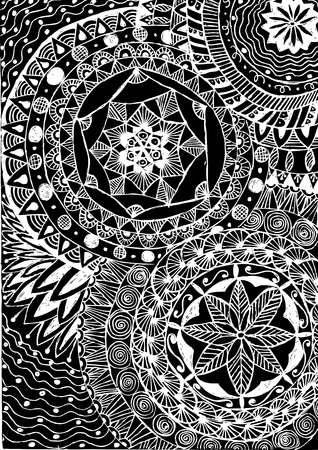 Black and white coloring. Floral tattoo artwork. Indian style. Doudle art floral composition. Иллюстрация