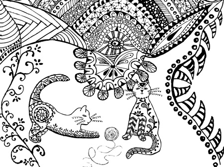 Cat black white vector. Zen art. Hand drawn fat fluffy animal portrait in zentangle style for adult coloring page. Zendoodle. Illustration on a white background. Archivio Fotografico