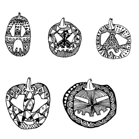 Halloween pumpkins hand drawing doodle sketch style set with different facial expressions. Hand drawn doodle outline halloween pumpkin illustration decorated with ornaments Ilustração