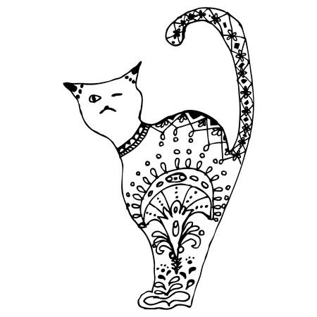 Cat sitting illustration, pattern, freehand pencil, hand drawn.