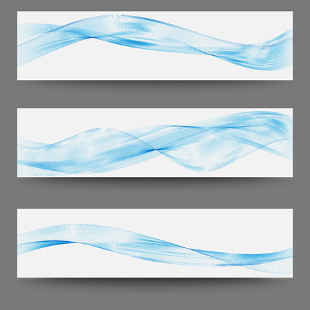 Three minimalistic divider wave swoosh set soft smooth line border swoosh from green to blue. Vector illustration