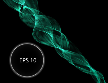 green flame curve layer overlap in dark background, wave transparent backdrop, simple technology template, vector illustration Çizim