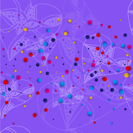 Lilac background with white hearts in the style of sketching and bright colored dots. Vector illustration.