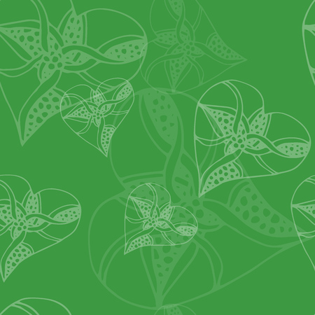 Seamless green heart pattern - valentine wrapping design. Girlish repeated backdrop with hearts, stars drawing in sketch style.