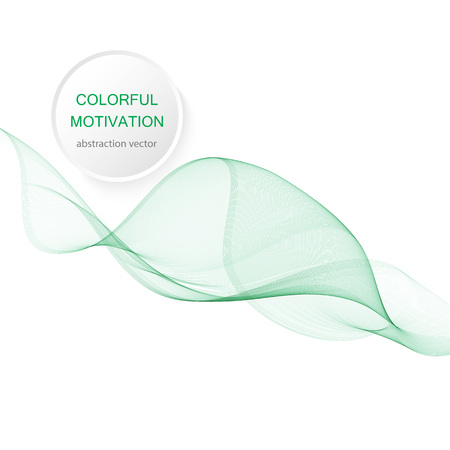 Abstract green wavy lines. Colorful vector background. smoke Transparent green wave