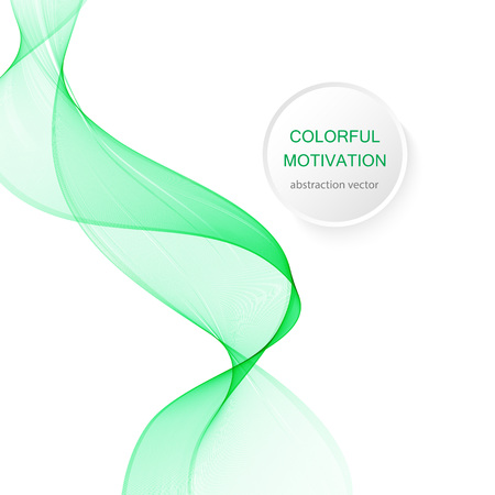 Abstract green wavy lines. Colorful vector background. smoke Transparent green wave Çizim
