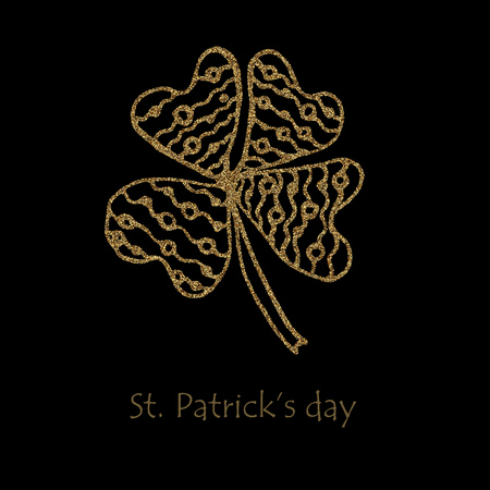 Happy saint Patrick s day. Gold Shamrock clover with glitter on black background.