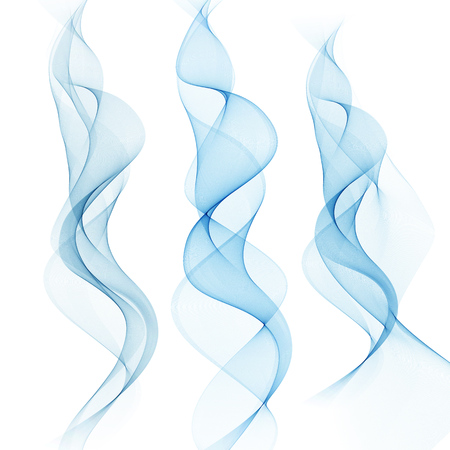 Set of blue wavy vertical water banner. Bright illustration