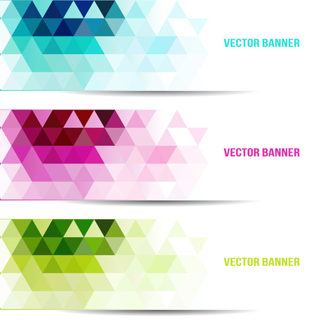 Set of abstract vector background with triangle object. Template for design Çizim