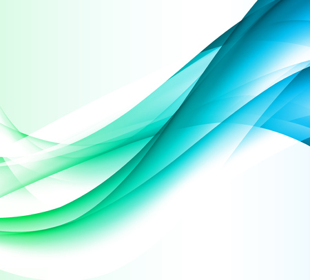 Abstract vector background, blue and green waved lines for brochure, website, flyer design. Transparent wave. Çizim