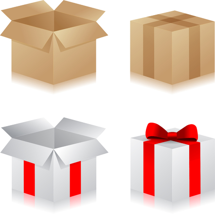 Gift boxes. Set of different present boxes. Surprise in the box. Vector. Çizim