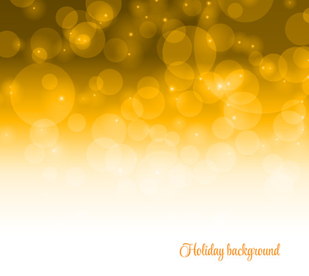 Bokeh on the yellow background. Vector blur adstract gold texture with lot of bubble Çizim