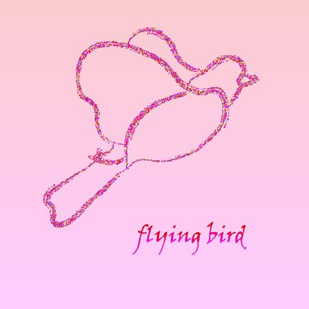 Stylized shiny pink bird background on pink background. Vector illustration for web design and graphic design.