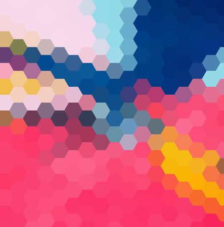 Multicolor pink, blue polygonal illustration, which consist of hexagons. Geometric background in Origami style with gradient.