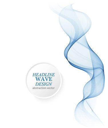 Abstract smooth color wave vector. Curve flow blue motion illustration. Smoke design. Ilustración de vector