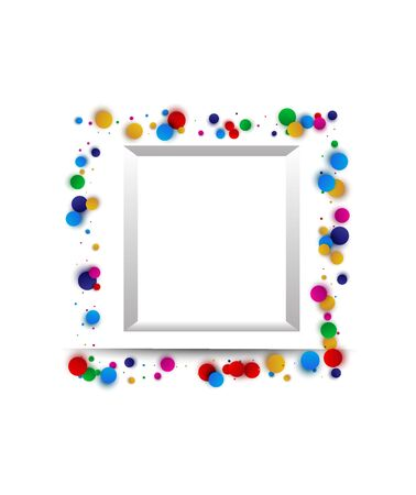 Confetti festive surround frame or border. Children s colorful holiday background.  イラスト・ベクター素材