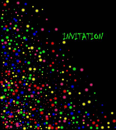 Colorful explosion of confetti. Colored glitter and sprinkles. Grainy abstract holiday illustration. Isolated on black background.