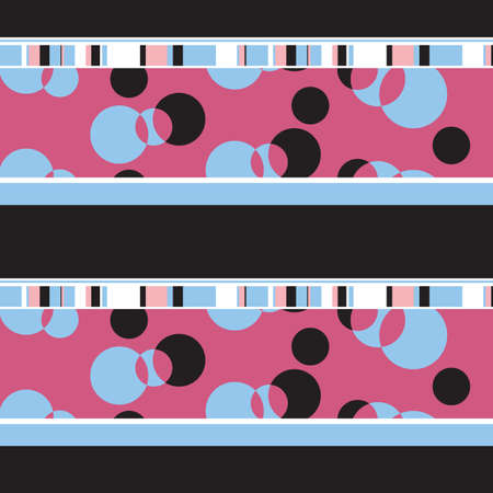 Multicolor geometric pattern with colored lines and circles of pink, blue colors on a black background repeats smoothly.