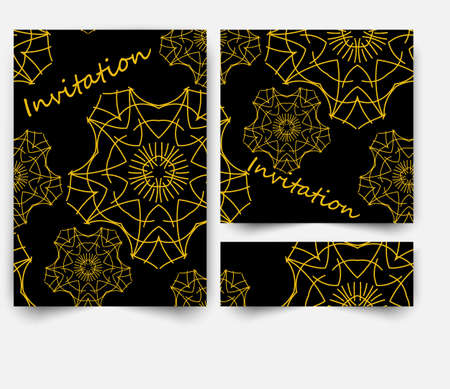 Black and Gold Banners Set, Greeting Card Design. Golden Brush Strokes. Painted Poster Invitation Template.
