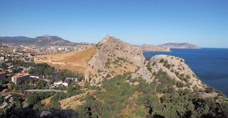Fortress at sudak black sea cost panorama