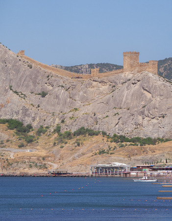 Fortress at sudak black sea cost panorama