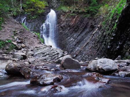 waterfall at the carpathian forest 免版税图像