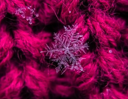 Snowflake beautiful on the red winter background