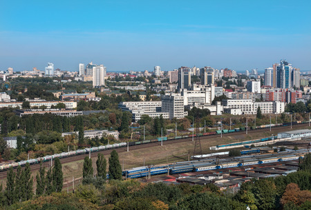Kiev, Ukraine, picturesque view of the railway junction, the Polytechnic Institute and the residential area from a birds eye view.