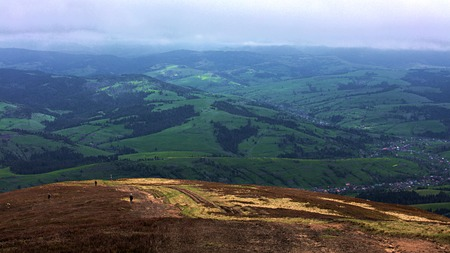 mountainous: View of the village from the mountain top of the Carpathian Mountains, nature in the mountains.