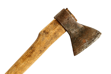 Old ax with a wooden handle close-up, isolated on a white background Banco de Imagens