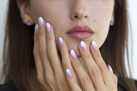 Beautiful womans nails with beautiful french manicure ombre Stok Fotoğraf